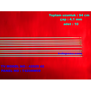 "VESTEL, 42925 42"" FHD LCD TV, T420HW09, UZUNLUK 94 CM, ÇAP 4.1 MM, ADET 10, LCD FLORESAN"