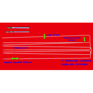 SAMSUNG, T315XW03, LE32D450, UZUNLUK 72.5 CM, ÇAP 4 MM, İKİ FLORESAN ARASI 4.5 CM, 4 ADET LCD FLORESAN