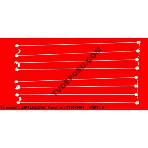 PHILIPS, 23PFL5322/58, T230XW01 V.3, UZUNLUK(53.5cm), ÇAP(3mm), Adet(8), LCD FLORESAN